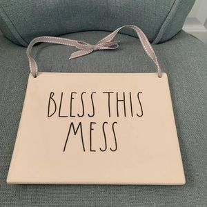 Rae Dunn Bless This Mess sign